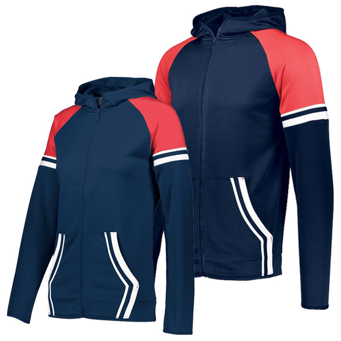 Retro Grade Warmup Tapered Hooded Jacket in Navy and Red