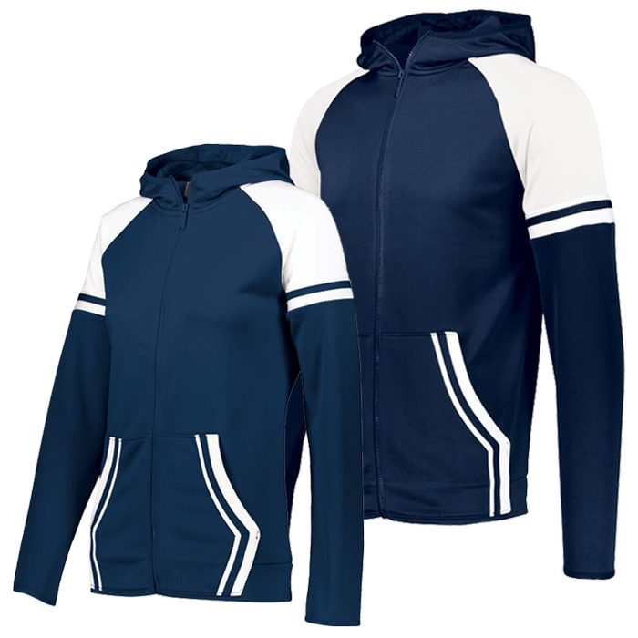 Retro Grade Warmup Tapered Hooded Jacket in Navy