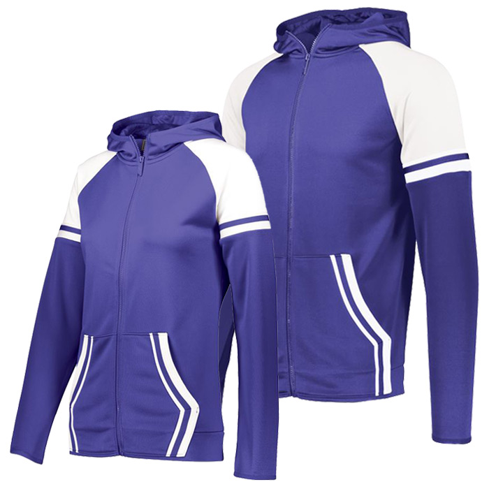 Retro Grade Warmup Tapered Hooded Jacket in Purple