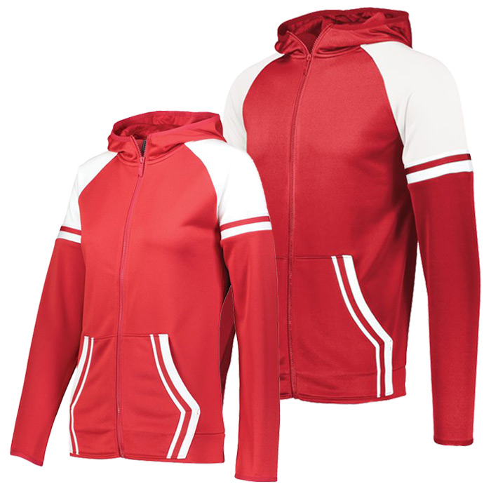 Retro Grade Warmup Tapered Hooded Jacket in Red