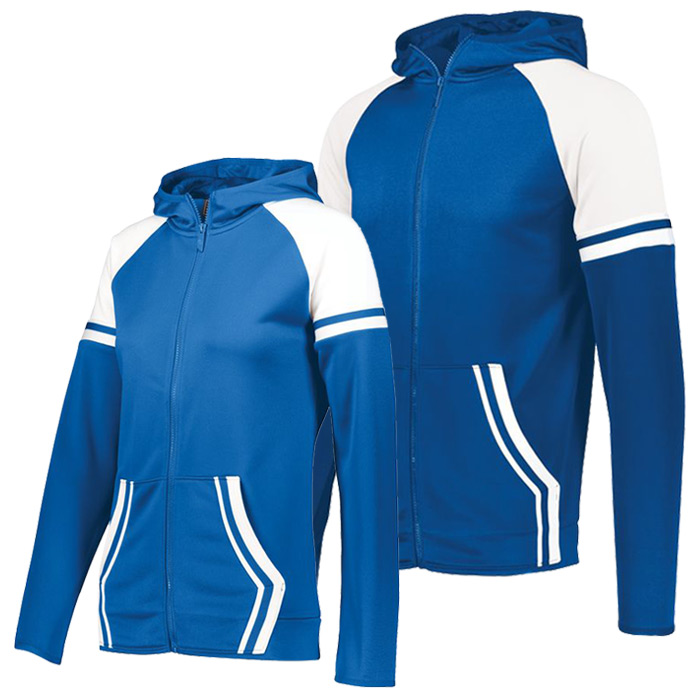 Retro Grade Warmup Tapered Hooded Jacket in Royal