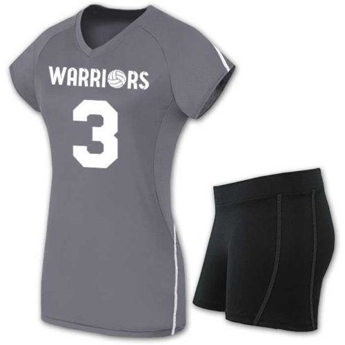 solid-colored short sleeve volleyball jersey and spandex
