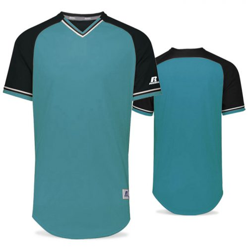 Russell Classic BB Bundle Jersey in Aqua, Black, and White