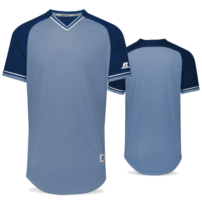 Russell Classic BB Bundle Jersey in Columbia Blue, Navy Blue, and White