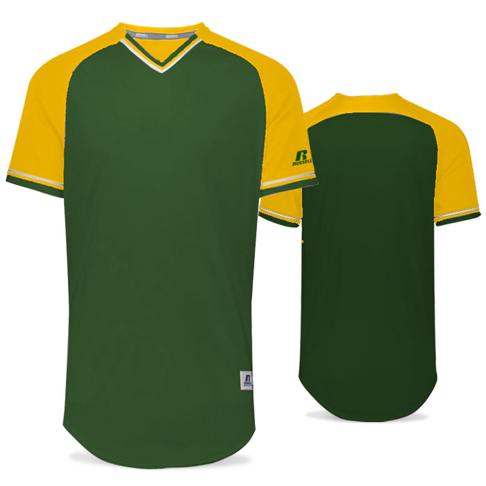 Russell Classic BB Bundle Jersey in Dark Green, Gold, and White