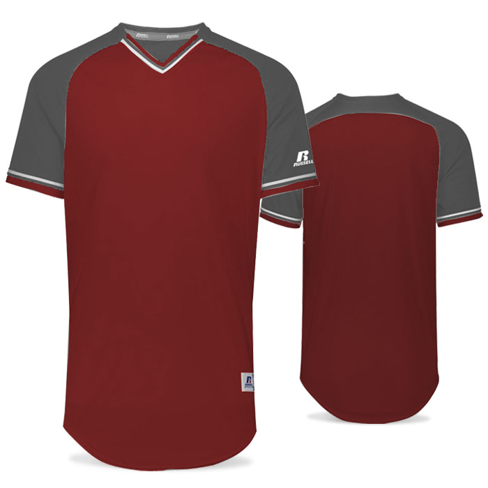 Russell Classic BB Bundle Jersey in Maroon, Steel, and White
