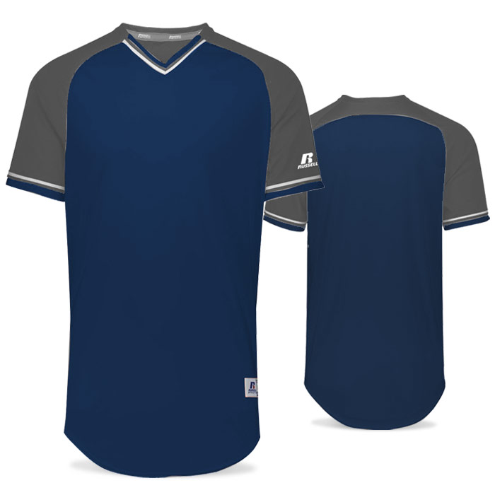 Russell Classic BB Bundle Jersey in Navy Blue, Steel, and White