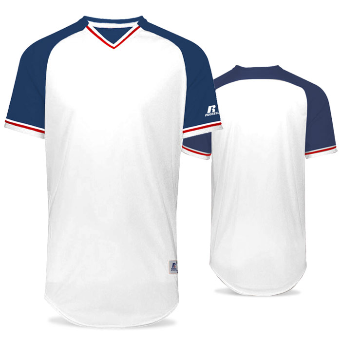 Russell Classic BB Bundle Jersey in White, Navy Blue, and True Red