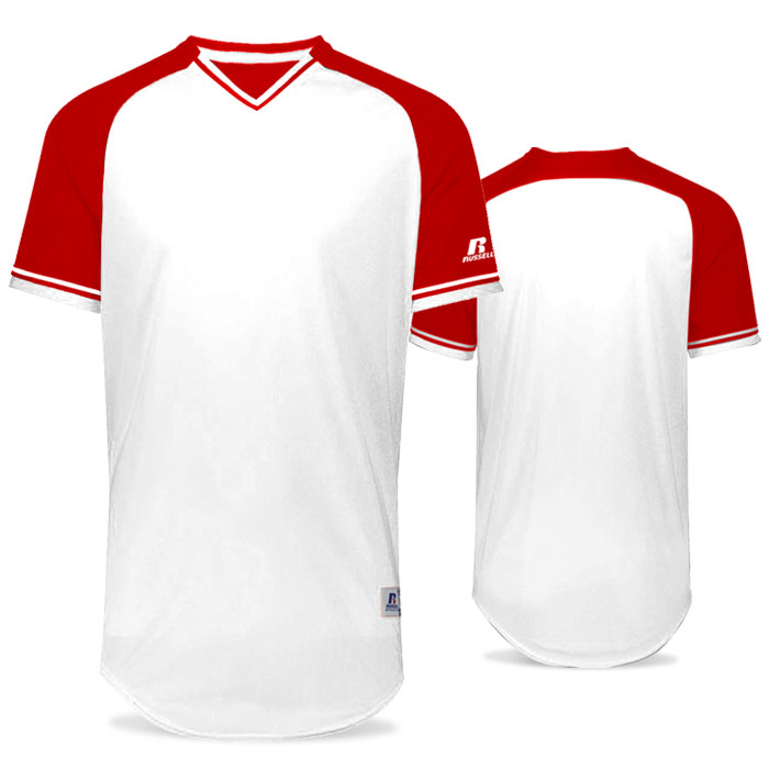 Russell Classic BB Bundle Jersey in White and True Red