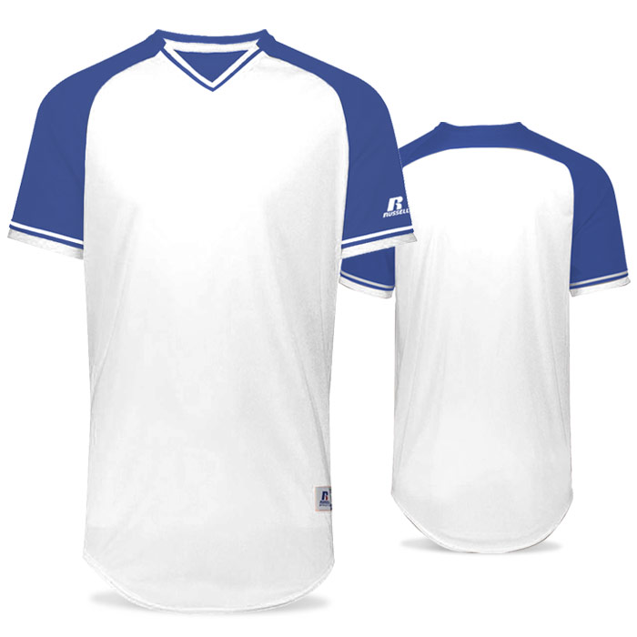 Russell Classic BB Bundle Jersey in White and Royal Blue