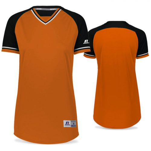 Russell Classic FP Jersey in Burnt Orange, Black, and White