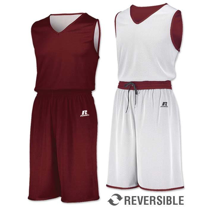 Russell Undivided Reversible Basketball Uniform in Cardinal