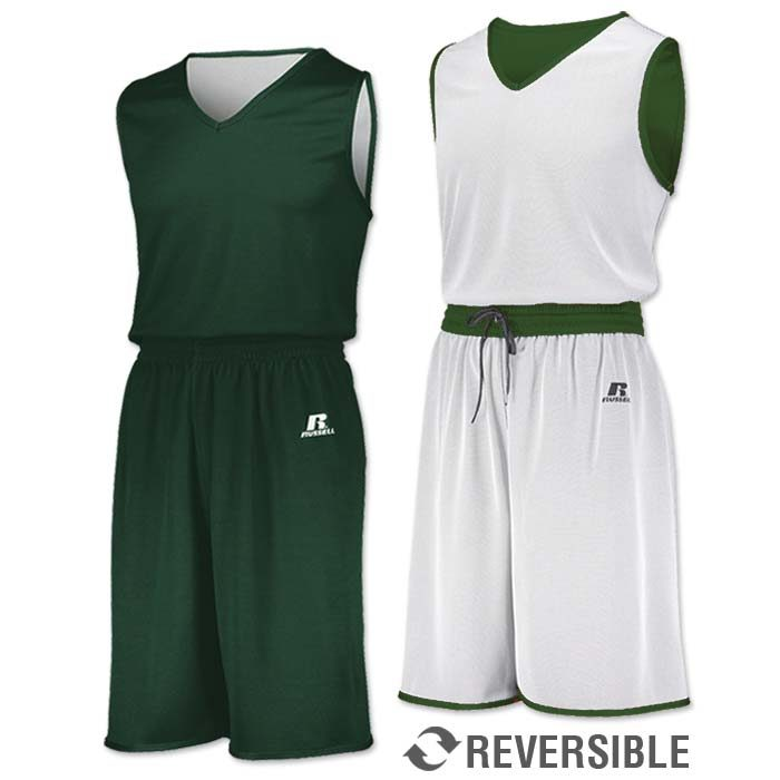 Russell Undivided Reversible Basketball Uniform in Dark Green