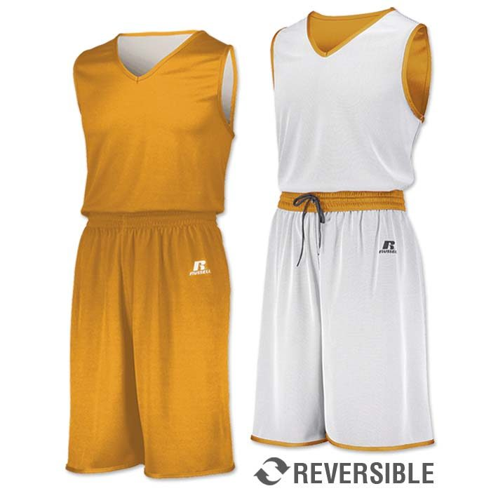 Russell Undivided Reversible Basketball Uniform in Athletic Gold