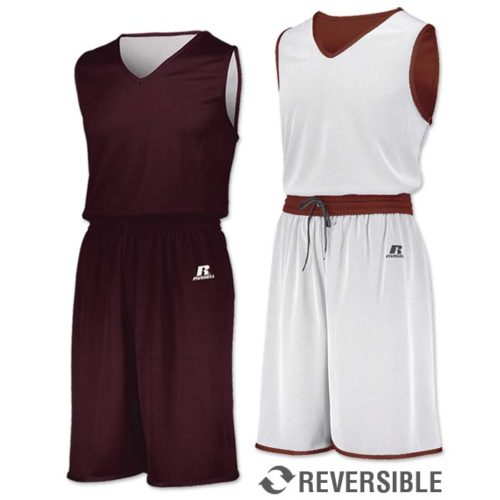 Russell Undivided Reversible Basketball Uniform in Maroon