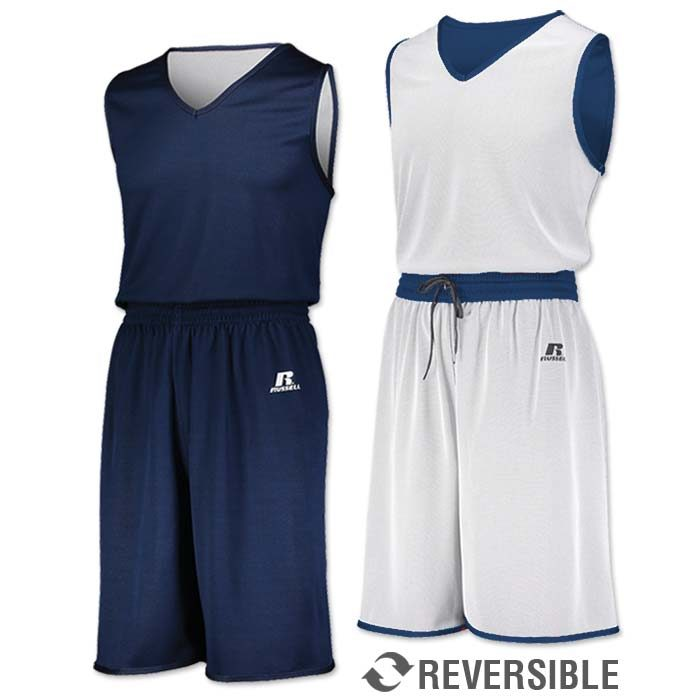 Russell Undivided Reversible Basketball Uniform in Navy Blue