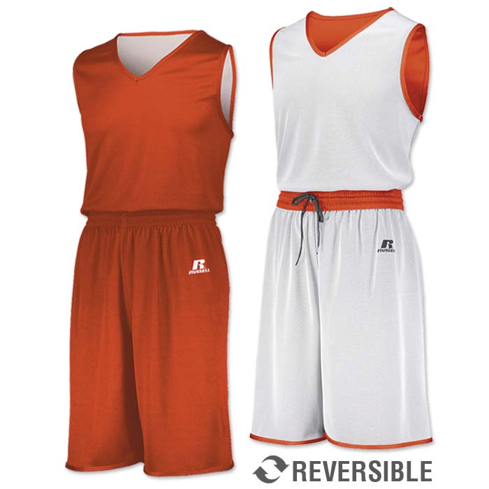 Russell Undivided Reversible Basketball Uniform in Orange