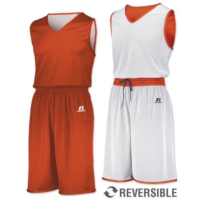 Russell Undivided Reversible Basketball Uniform in Orange