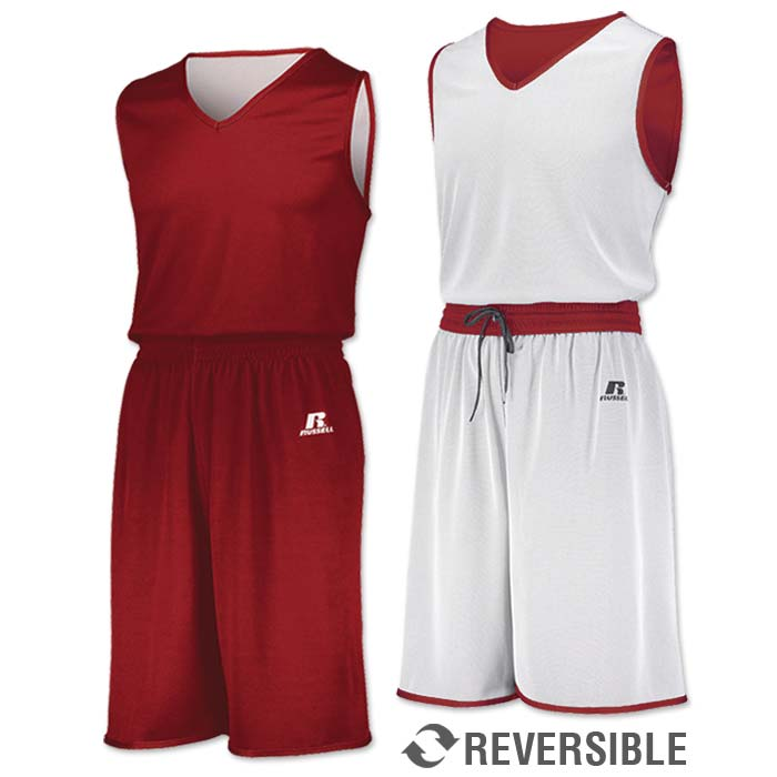 Russell Undivided Reversible Basketball Uniform in Red