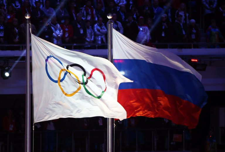 Olympic Flag and Flag of Russia