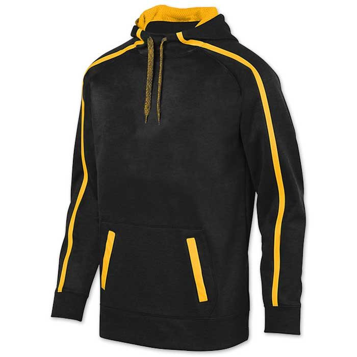 Augusta Stoked Tonal Hoodie with Printed Team Emblem, Heather, Scuba Hood, Adult and Youth, Black and Athletic Gold