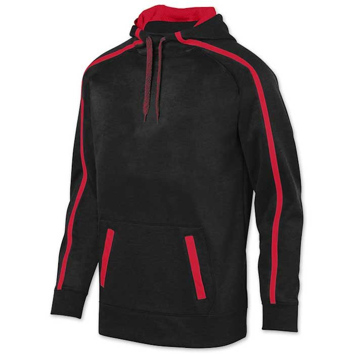 Augusta Stoked Tonal Hoodie with Printed Team Emblem, Heather, Scuba Hood, Adult and Youth, Black and Red