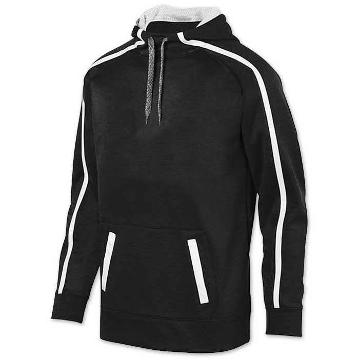 Augusta Stoked Tonal Hoodie with Printed Team Emblem, Heather, Scuba Hood, Adult and Youth, Black