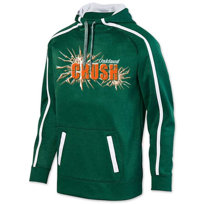 Augusta Stoked Tonal Hoodie with Printed Team Emblem, Heather, Scuba Hood, Adult and Youth, Dark Green