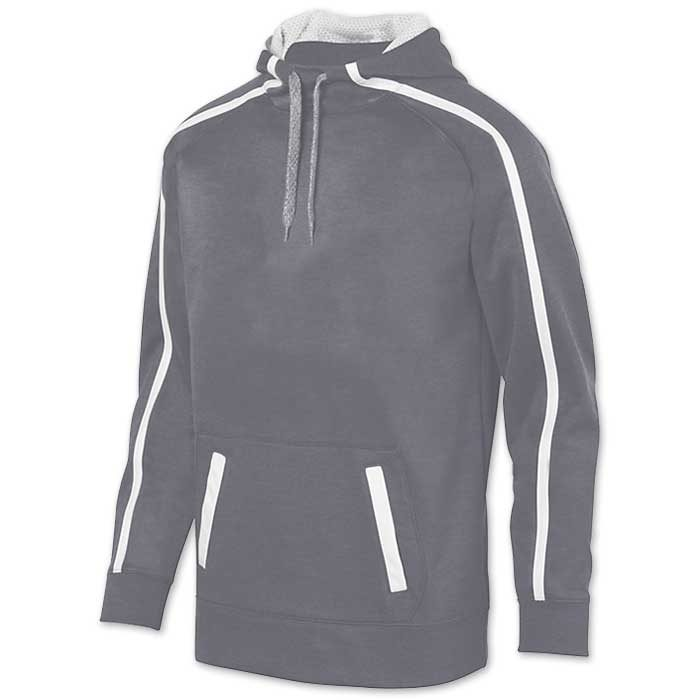 Augusta Stoked Tonal Hoodie with Printed Team Emblem, Heather, Scuba Hood, Adult and Youth, Graphite