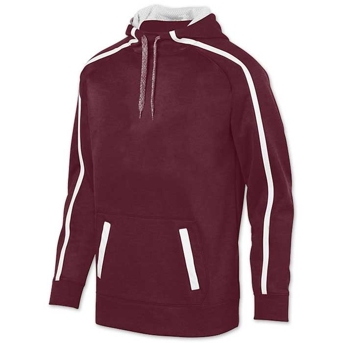 Augusta Stoked Tonal Hoodie with Printed Team Emblem, Heather, Scuba Hood, Adult and Youth, Maroon