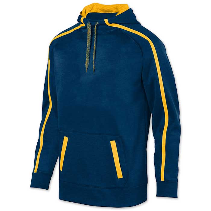 Augusta Stoked Tonal Hoodie with Printed Team Emblem, Heather, Scuba Hood, Adult and Youth, Navy Blue and Gold