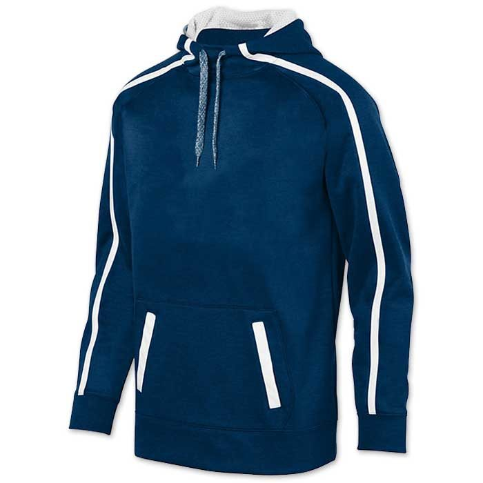 Augusta Stoked Tonal Hoodie with Printed Team Emblem, Heather, Scuba Hood, Adult and Youth, Navy Blue