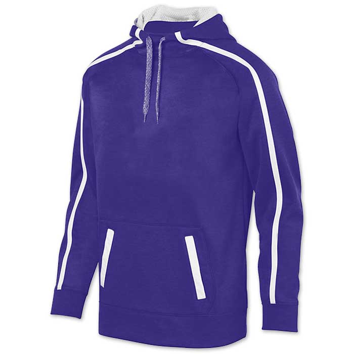 Augusta Stoked Tonal Hoodie with Printed Team Emblem, Heather, Scuba Hood, Adult and Youth, Purple