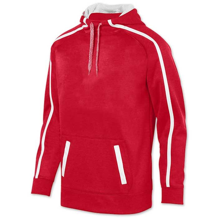 Augusta Stoked Tonal Hoodie with Printed Team Emblem, Heather, Scuba Hood, Adult and Youth, Red