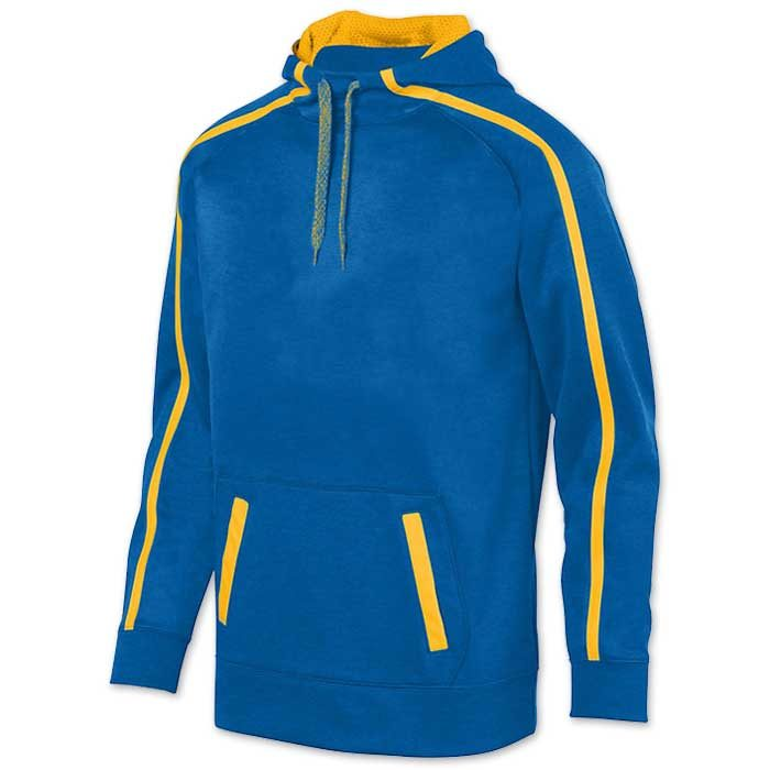 Augusta Stoked Tonal Hoodie with Printed Team Emblem, Heather, Scuba Hood, Adult and Youth, Royal Blue and Athletic Gold