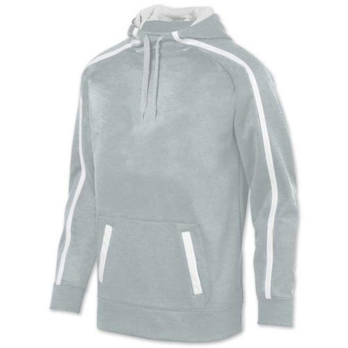 Augusta Stoked Tonal Hoodie with Printed Team Emblem, Heather, Scuba Hood, Adult and Youth, Silver