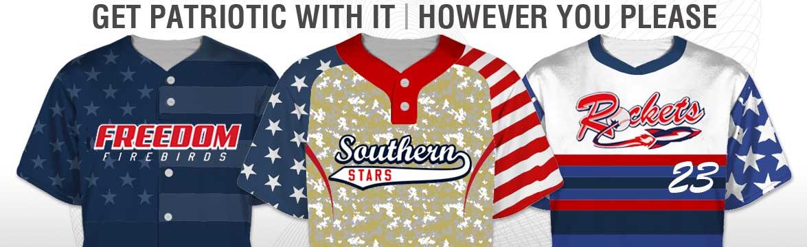 Patriotic baseball jerseys custom made any way you please.