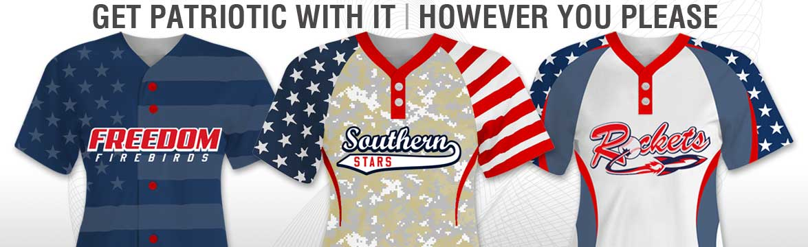 This is the patriotic softball uniform section