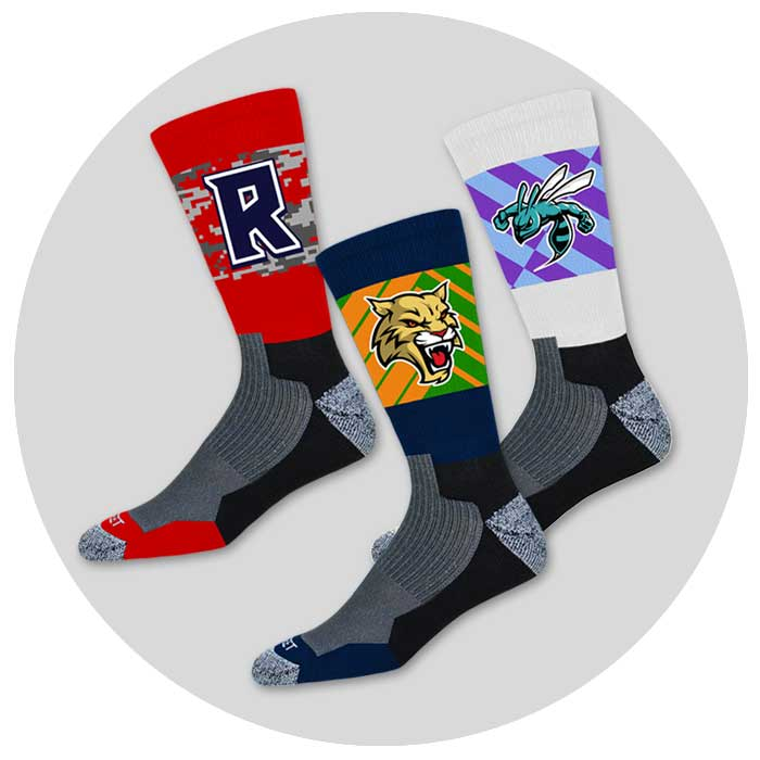custom sublimated crew socks for wrestling teams