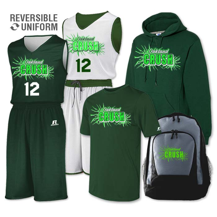 Team Pack Russell Undivided Reversible Uniform, Shooter, Hoodie and Bag in Dark Green