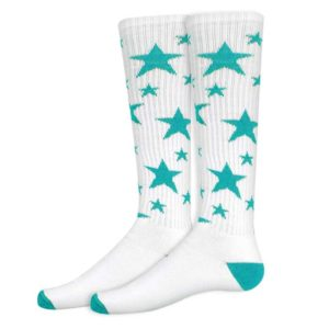 Stars Athletic Socks in White and Turquoise