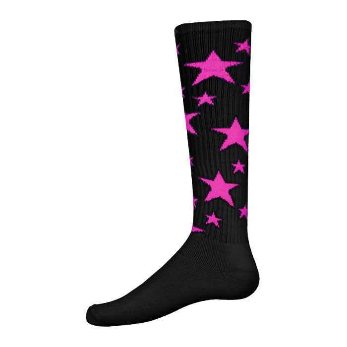 Stars Athletic Socks in Black and Fluorescent Pink