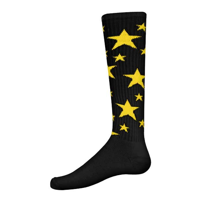 Stars Athletic Socks in Black and Gold