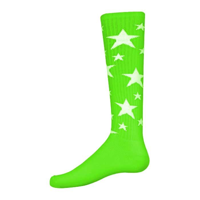 Stars Athletic Socks in Fluorescent Green and White