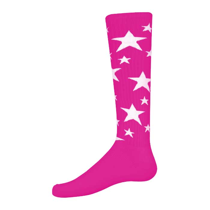 Stars Athletic Socks in Fluorescent Pink and White