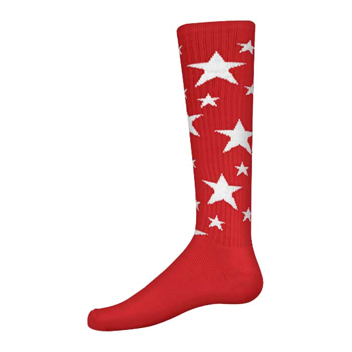 Stars Athletic Socks in Red and White