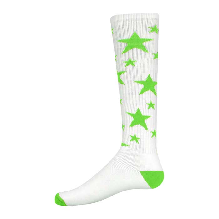 Stars Athletic Socks in White and Fluorescent Green