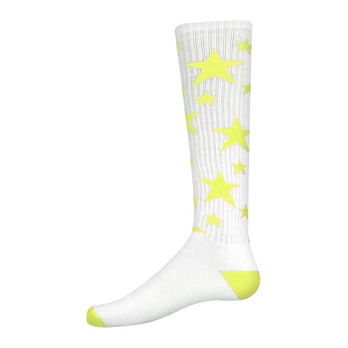 Stars Athletic Socks in White and Fluorescent Yellow