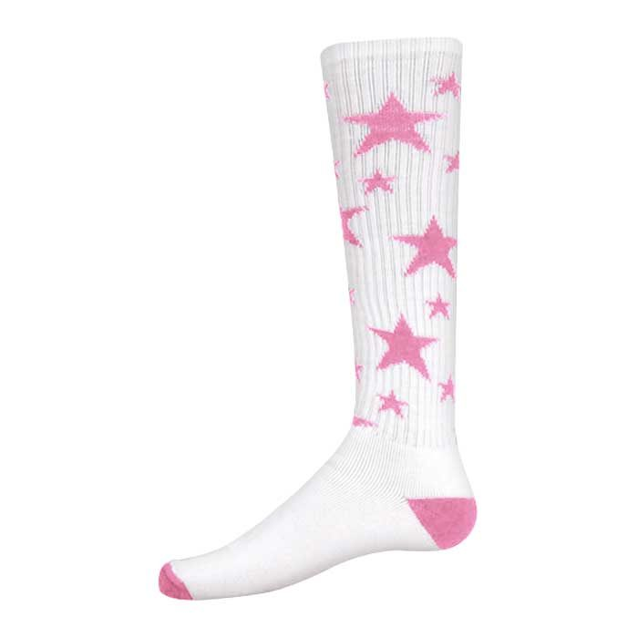 Stars Athletic Socks in White and Pale Pink