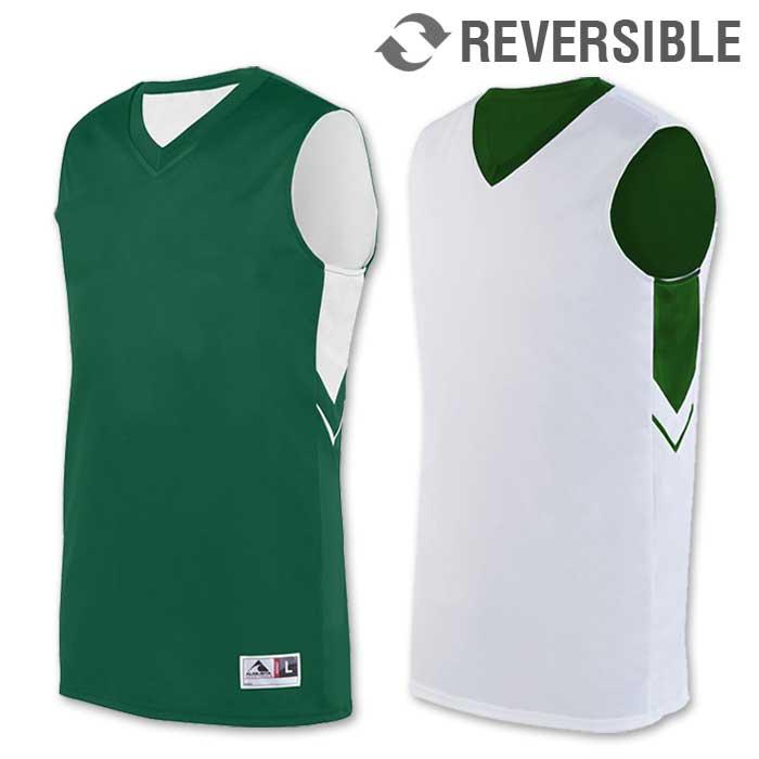 reversible alley-oop basketball uniform jersey in dark green